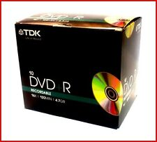 Tdk Dvd + r 4.7 Gb 16x Speed 120min grabables disco DVD joya caso Pack 10 (t19389)