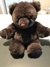 """1985 Large 20"""" Applause Hutton Teddy Bear Dark Frosted Black/Brown Plush"""