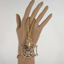Women Gold Metal Hand Chain Slave Ring Fashion Bracelet Spider Web Net Halloween