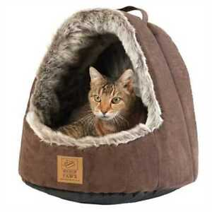 Cat Artic Bed Cave with Hood Extremely Comfortable For Your Cat to Relax Sleep