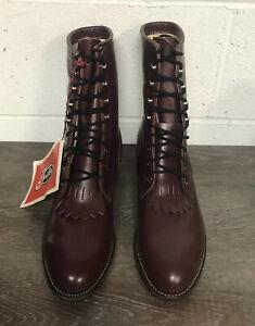 Vintage Men's Justin Leather Roper Lace Up Western Boots Sz 10D NOS - USA - 510
