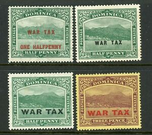 Dominica 1916-1918 War Tax selection SG 55-58 MM/HM