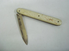 VINTAGE ABALONE HANDLE (?) 1 BLADE POCKET KNIFE WITH ETCHING ON HANDLE