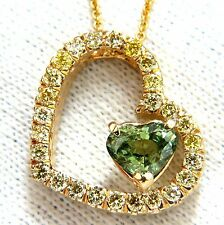 GIA Certified 1.79ct Natural Demantoid Yellow Diamond Necklace 18kt.