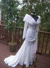 VINTAGE 80s ANGELIC FAIRY WEDDING GOWN M WHITE LACE