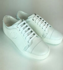 CHANEL SNEAKERS. WHITE CALFSKIN . SIZE 38  BRAND NEW FOR 2017!!!