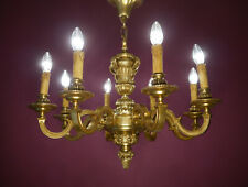 ANTIQUE GOLD BRONZE SOLID MAZARIN 8 LIGHT FRENCH CHANDELIER VINTAGE LAMP