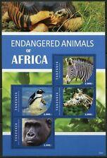 TANZANIA 2015 - Endangered Animals Of Africa Sheet of 4 - MNH