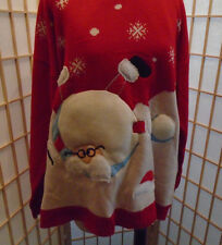 Ugly Christmas Sweater Size XXL 2X Puffy Santa Holiday Red Funny Party Plus NEW