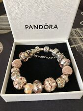 Pandora Bracelet With 16 Charms & Safety Clasp Rose Gold