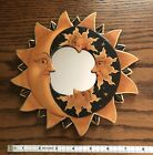 """NEW MOON & STARS MIRROR 8"""" Hand Carved & Painted  Antique colors"""