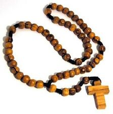 Olive Wood Simple Catholic Rosary Prayer Beads Brown Rope Handmade Bethlehem