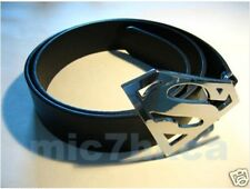 Fancy dress SUPERMAN big buckle black leather belt (SHINY CHROME SILVER COLOUR)