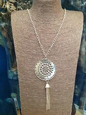 Gold Tone Women's Native  Round Cut-work Pendant With Chain Tassels 21 Inch