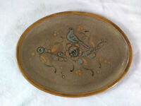 Handpainted Pottery Platter Bird Speckle Glaze Marked Signed Stoneware MCM