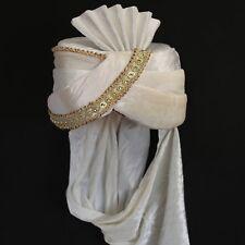 Turbante Crema- Bianco Sultan India Bollywood Costume di Carnevale Maharaja 1