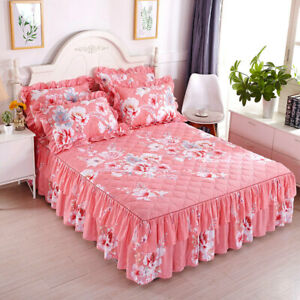 Brushed Cotton Rustic Floral Thick Bed Skirt Full Queen Bedspreads 2 Pillowcases