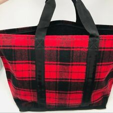 Barney's New York Women's Red Plaid Wool Tote Bag