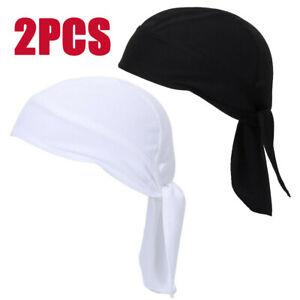 2 Pack Women Men Head Wrap Tie Back Bandana Pirate Hat Scarf Biker Cycling Caps
