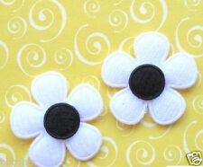 "60 x 1"" WHITE Padded Felt FLOWER Appliques w/BLACK Center for Bows/Cards  ST464W"