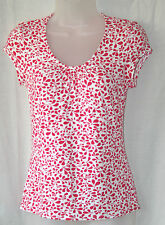 PHASE EIGHT (UK8 / EU36) PINK AND WHITE SCOOP-NECK AND CAP-SLEEVED STRETCH TOP