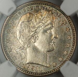 1911 Barber Silver Quarter 25c, NGC UNC Details, Choice BU Coin