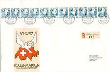 superbe enveloppe SUISSE HELVETIA SCHWEIZ timbres ROLLENMARKEN