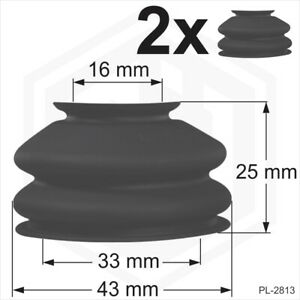 Ball joint dust cover universal 2 x 16/33/25 Rubber boots track rod end Car Van