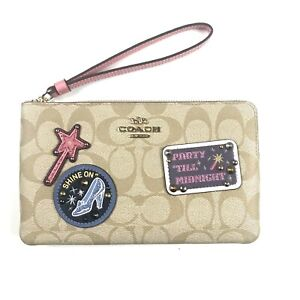 Disney Coach Large Corner Wristlet Signature Canvas With Patches Khaki C3358 NEW