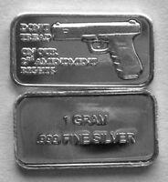 "1 Gram Fine .999 Pure Solid Silver, "" 2ND AMENDMENT ART-BAR """