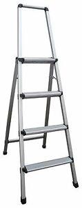 INDALEX Aluminium Step Ladder with Handrail 4 Steps 1.1m