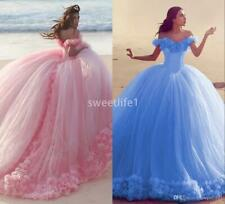 Pink Quinceanera Gowns Princess Cinderella Formal Prom Ball Gown Evening Dress