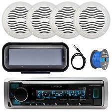 "Marine 5"" 25W Speakers, Bluetooth USB Receiver, Radio Cover, 50FT Speaker Wire"