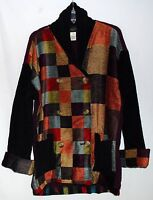 Susan Bristol Cotton & Wool Multi Color Rayon Patches Womens Jacket Size M NWT