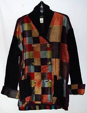Susan Bristol Cotton & Wool Multi Colored Rayon Patches Womens Jacket Size M NWT