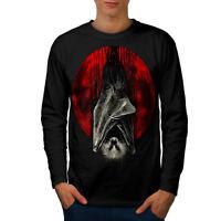 Wellcoda Blood Moon Vampire Mens Long Sleeve T-shirt, Bat Graphic Design