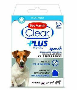 Bob Martin CLEAR PLUS SPOT ON Treatment Small Dogs Fleas Ticks Lice - 67mg Packs