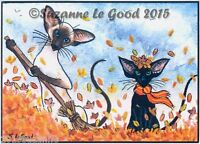ACEO SIAMESE CAT ORIENTAL KITTEN PRINT FROM ORIGINAL PAINTING BY SUZANNE LE GOOD