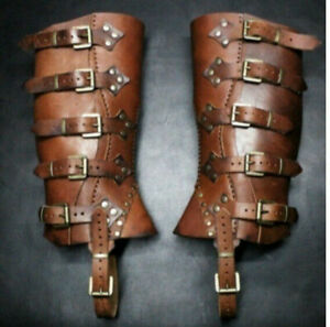 PU Shoe Covers Medieval Warrior Leg Protector Leather Wrap Cosplay Buckle Armor