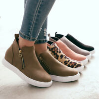 Womens Pumps Wedge Hidden Heel Loafers Sneakers Slip On Trainer Casual Shoes ZIP