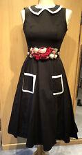 Estilo Vintage Phaze Negro Vestido Talla 8