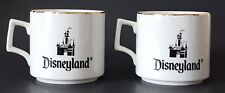 Vintage Disneyland Coffee Cups Made in Japan White Gold Trim Detail Set of Two
