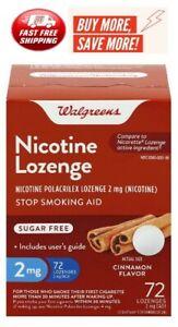 Walgreens Nicotine Lozenges 2 mg 72  count Cinnamon Flavor Free Shipping !