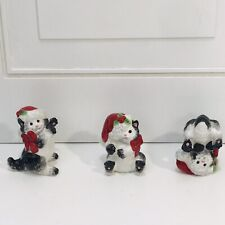 """Fitz & Floyd Christmas """"Kitty Claus"""" Tumblers Figurines With Box"""