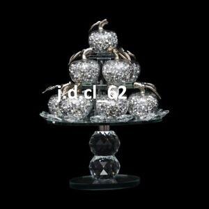 Glass Sparkle Ornament Bling Crushed Diamond Gift Decorative Crystal Apple Tree