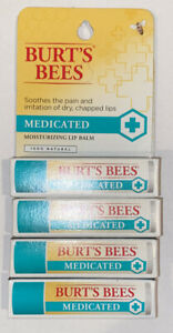 Lot Of 4 - BURT'S BEES Medicated Moisturizing Lip Balm 100% Natural