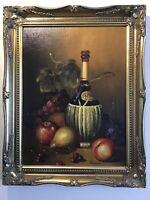 Vintage gilt framed original signed oil painting Still Life
