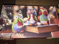 Kirkland's Set Of 3 See No Hear Christmas Owls