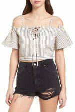 New J.O.A. Pinstriped Off The Cold Shoulder Crop Top Size Large Lace Tie Front