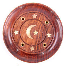 Wooden Disc Incense Holder - Incense Stick & Cone Burner with Brass Inlay